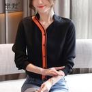 (促銷全場九折)秋季新款黑色雪紡襯衫女設計感小眾輕熟上衣長袖寬松韓版襯衣