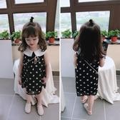 夏裝 中小童圓點兒童洋裝 女童寶寶小清新娃娃領背心裙子 聖誕鉅惠