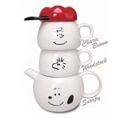 耀您館★日本MC.史努比瓷泡茶壼茶杯Tea for two史奴比SNOOPY水壼水杯子SPY-386查理布朗壼糊塗塌客杯