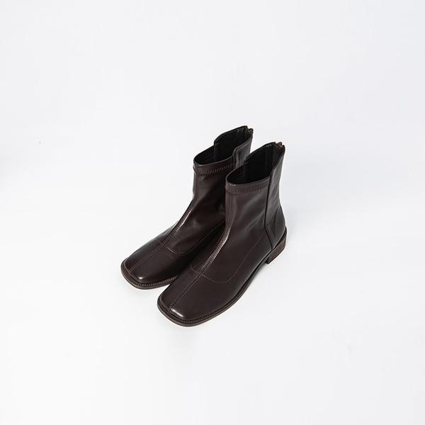 Queen Shop【05060126】方頭車線後拉鍊皮短靴 三色售 36~39*現+預*