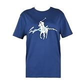 【南紡購物中心】Ralph Lauren 水彩簽字大馬圓領短袖T恤-經典藍