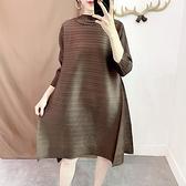 七分袖洋裝-皺褶高彈力純色立領寬鬆A字裙女連身裙8色73yf13【時尚巴黎】