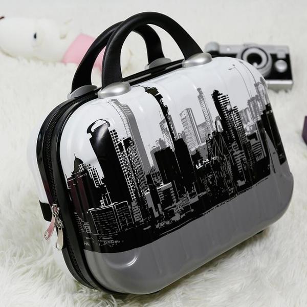 韓版鏡面14寸化妝包女手提箱子小行李箱迷你旅行箱可定制LOGO箱包 喵小姐