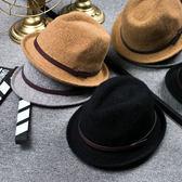 【618好康鉅惠】秋冬英倫時尚復古皮帶羊毛禮帽