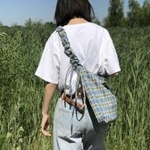 帆布包斜背包夏季格子側背包包女大容量帆布袋慵懶風新品