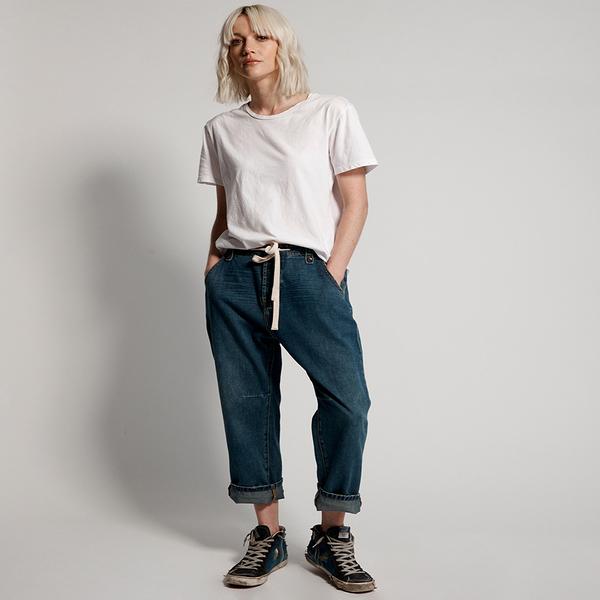 ONETEASPOON  DIRTY INDIGO SAFARI  H/W RELAXED JEANS  牛仔褲-藍(女)