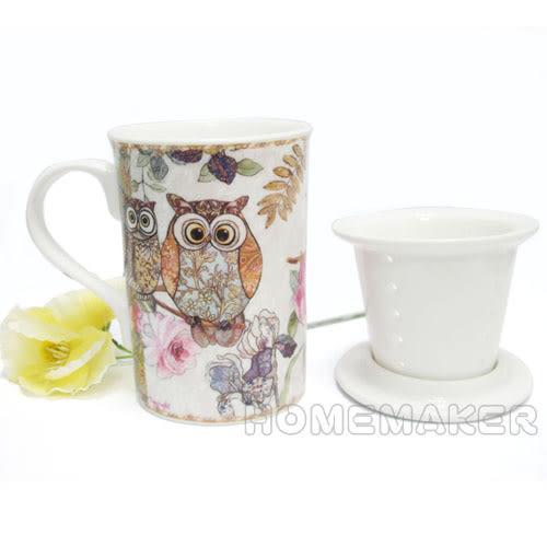 貓頭鷹馬克杯+杯蓋+濾杯禮盒組_BV-R2025T2/N-D131