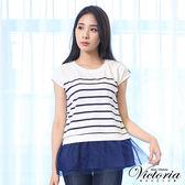 Victoria 印條下襬異材質拼接短袖T-女-白印藏青藍條
