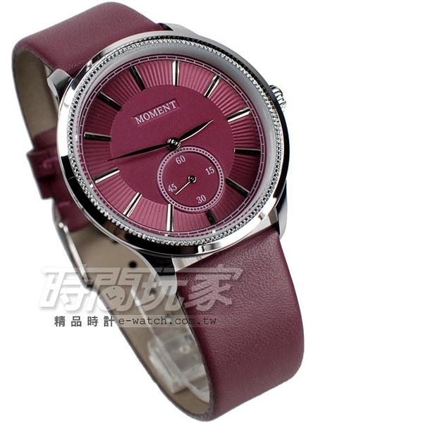 MOMENT舜時 日本機蕊 小秒盤時刻 真皮錶帶 男錶 紫紅色 MO8091紫紅大
