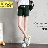 真理褲--夏日推薦顯瘦兩側撞色織帶鬆緊綁帶運動休閒短褲(黑.綠XL-3L)-R246眼圈熊中大尺碼◎