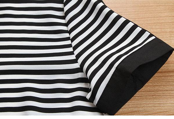 找到自己 G5 韓國時尚 新款 條紋 雪紡衫 高腰 短褲 兩件套 休閒 套裝