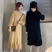 大碼女裝法式復古針織魚尾裙子秋冬胖mm顯瘦中長款打底毛衣連身裙 suger
