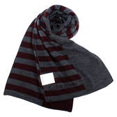 CalvinKlein 新款CK橫紋保暖圍巾(酒紅色)103210-3