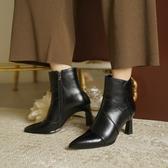 純手工真皮大尺碼女鞋34-41 2020網紅出行必備款頭層牛皮尖頭高跟時裝靴 短靴子 ~2色