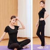 新款大碼瑜伽服女運動套裝女專業顯瘦直筒褲休閒服夏季  yu2994『俏美人大尺碼』