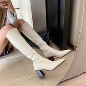 膝上靴 韓國米白色不過膝長靴子女2020新款秋冬高跟瘦瘦靴粗跟高筒騎士靴