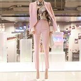 西裝套裝含外套+長褲(兩件套)-粉色休閒修身春秋女西服73xs28[巴黎精品]