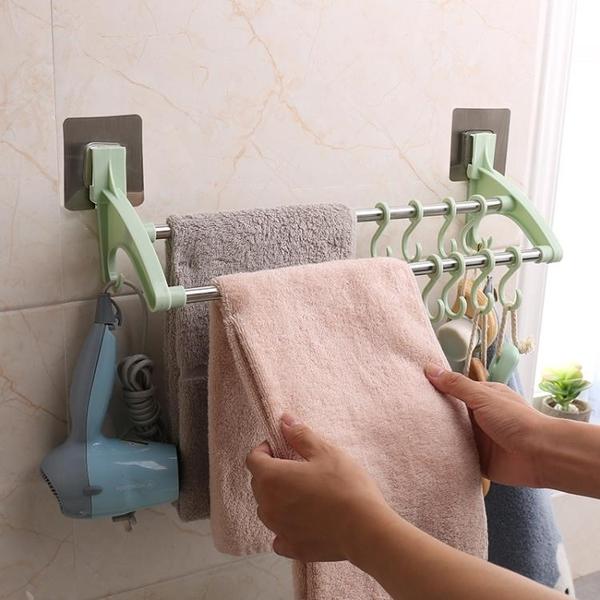 雨露毛巾架免打孔晾桿的掛架衛生間抹布架黏膠式掛布浴室掛鉤雙