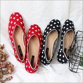 六月芬蘭方頭夏日點點針織透氣奶奶鞋黑色紅色(35-40)現貨