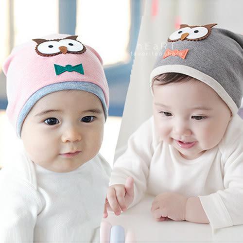 貓頭鷹領結嬰兒保暖帽 胎冒 童帽