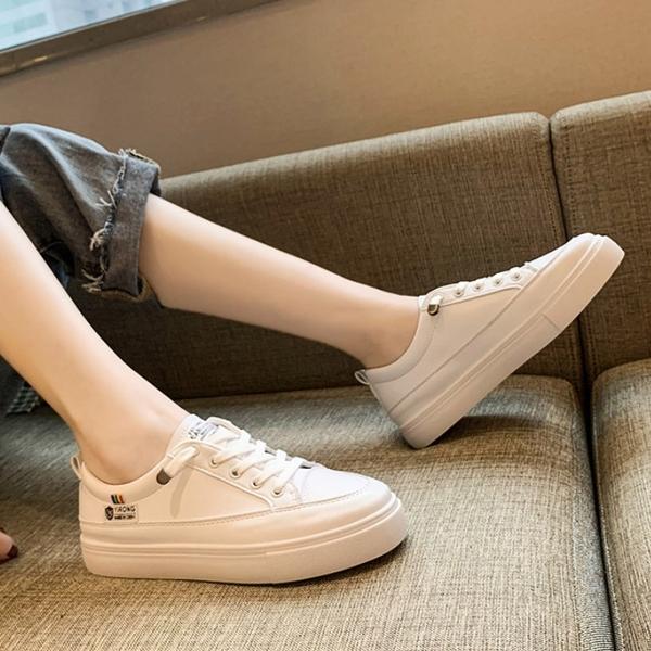 女款 836 韓版超柔軟好穿舒適鬆緊免綁帶小白鞋 休閒鞋 懶人鞋 平底鞋 上班鞋 59鞋廊