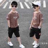 套裝童裝男童夏裝套裝2019新品兒童短袖夏季運動中大童洋氣男孩帥氣潮