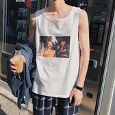 無線上衣  2019夏季新款歐美街頭無袖背心男韓版潮學生運動汗衫男女BF風上衣  米娜小鋪
