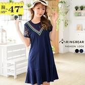 連身洋裝--典雅撞色條紋V字造型拼接蕾絲袖圓領短袖連身裙(黑.藍L-3L)-D584眼圈熊中大尺碼
