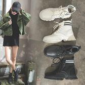 靴子 2019新款春季ins馬丁靴女短筒英倫風學生鞋韓版百搭chic高幫鞋女 曼慕衣櫃