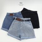 皮標造型高腰牛仔短褲M-XL號-BAi白媽媽【310636】