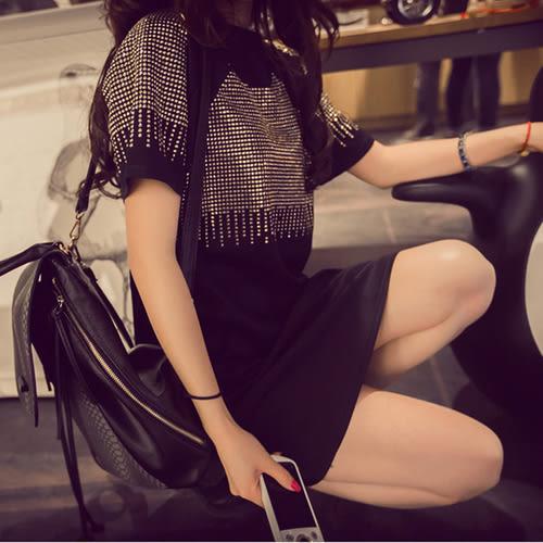 【GZ3E1】胖mmT恤女夏裝短袖寬鬆大碼女裝中長款流蘇燙金100公斤半袖上衣