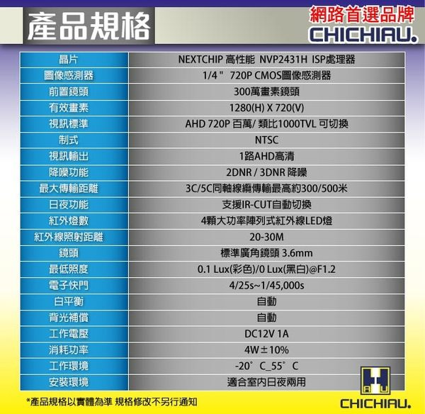 【CHICHIAU】AHD 720P 百萬畫素1000TVL(類比1000條解析度)雙模切換四陣列燈半球型夜視監視器攝影機