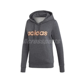 adidas 長袖T恤 Essentials Linear Fleece Hoodie 灰 橘 女款 帽T 運動休閒 【PUMP306】 EI0670