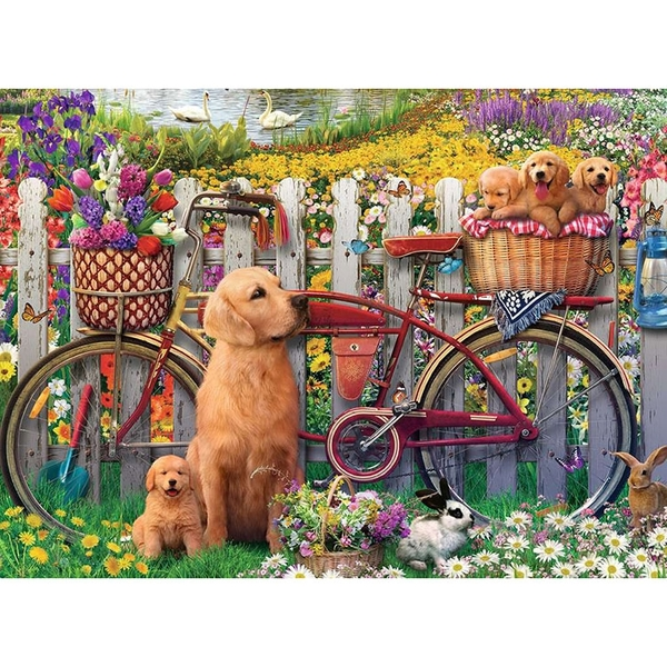 德國Ravensburger 維寶拼圖 花園裡的狗狗 (500片)_RV15036