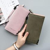 2018新款錢包女長款手拿包日韓版PU二摺大容量復古錢夾手腕帶錢包