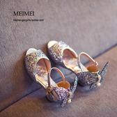 女童魚嘴涼鞋小公主鞋高跟兒童時尚水晶鞋潮