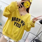 EASON SHOP(GU7765)實拍韓版英文字母印花不規則剪裁V領長袖T恤女上衣服落肩寬鬆薄款素色棉T恤黃色