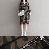 長袖洋裝 迷彩 拉鍊 開衩 長版T裙 連帽 長袖 連身裙【BS5958】 BOBI  10/05