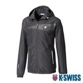 K-SWISS Fleece Jacket刷毛防風外套-男-黑