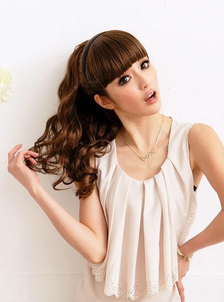 Qmishop 瀏海髮箍 輕鬆上手 齊瀏海假髮片髮箍【P015】新娘髮型