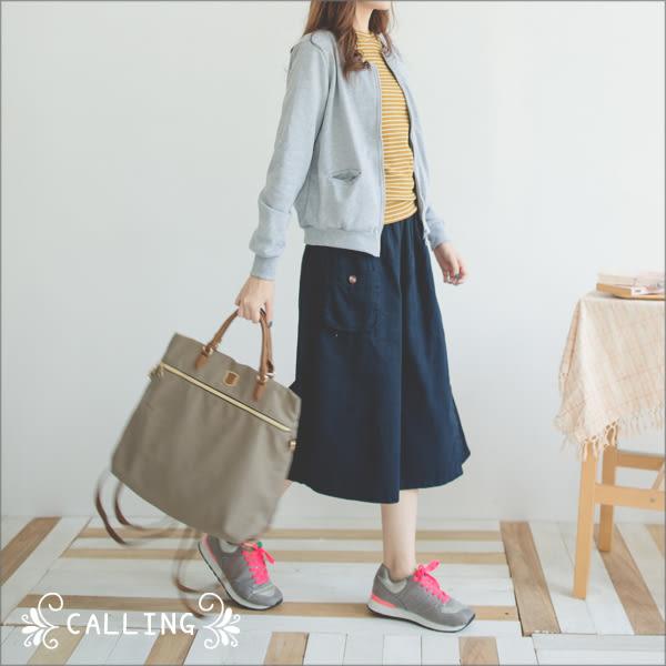 寬褲裙 - 日雜款不對稱單口袋一片裙式卡其棉寬褲 三色 Calling1230
