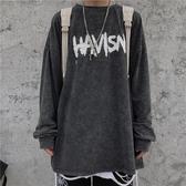 INSstudios.19韓國ins復古高街嘻哈涂鴉字母做舊水洗長袖男女潮 韓國時尚週