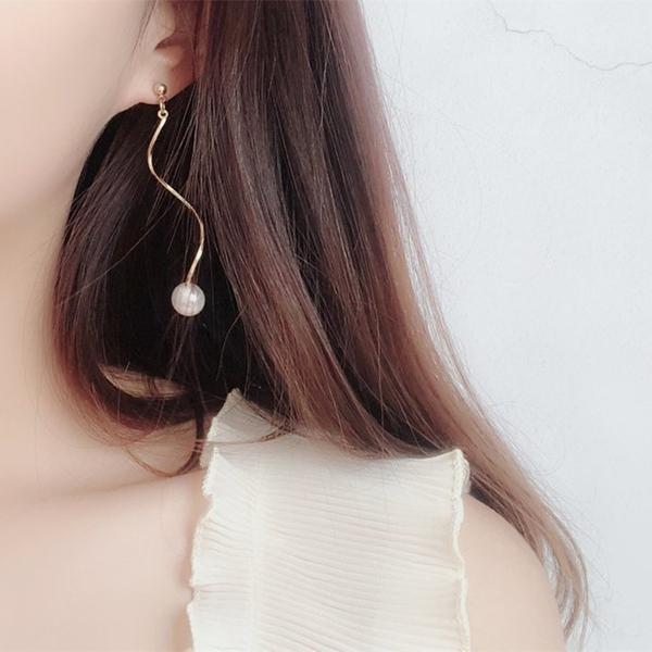 耳環 現貨 韓國氣質浪漫簡約百搭珍珠波浪流線耳環 夾式耳環 S92684 Danica 韓系飾品