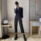韓版工裝連身褲高腰連體褲女寬松bf顯瘦休閒闊腿【時尚大衣櫥】