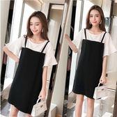 海外直發不退換休閒洋裝短裙新款女韓版寬松顯瘦假兩件荷葉袖中長款胖mm吊帶連衣裙(G425-A1)