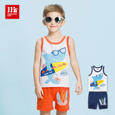 JJLKIDS 男童 衝浪鯊魚純棉短袖短褲套裝(2色)