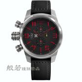 elegantsis 戰地護士三眼計時腕錶-黑x紅