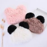兒童秋冬季兔毛韓版女童保暖皮草帽子男童女童可愛熊貓甜美耳朵帽