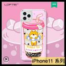 【萌萌噠】iPhone 11 Pro Max 洛夫特可愛超萌少女 創意珍珠奶茶 液體流沙殼 全包軟邊 手機殼 手機套