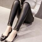 皮褲 女士皮褲女秋冬外穿加絨打底褲新品長款高腰彈力蕾絲邊黑色褲
